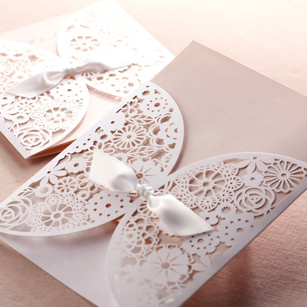 DIY Laser Cut Vintage Lace Flower Wedding Invitation Template Invite
