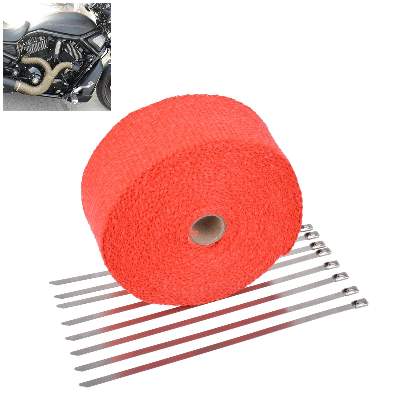 KaTur 2' x50Ft Exhaust Heat Wrap Tap Header Glassfiber Wrap Kit with 8pcs 11.8 inch Stainless Locking Ties (Red)