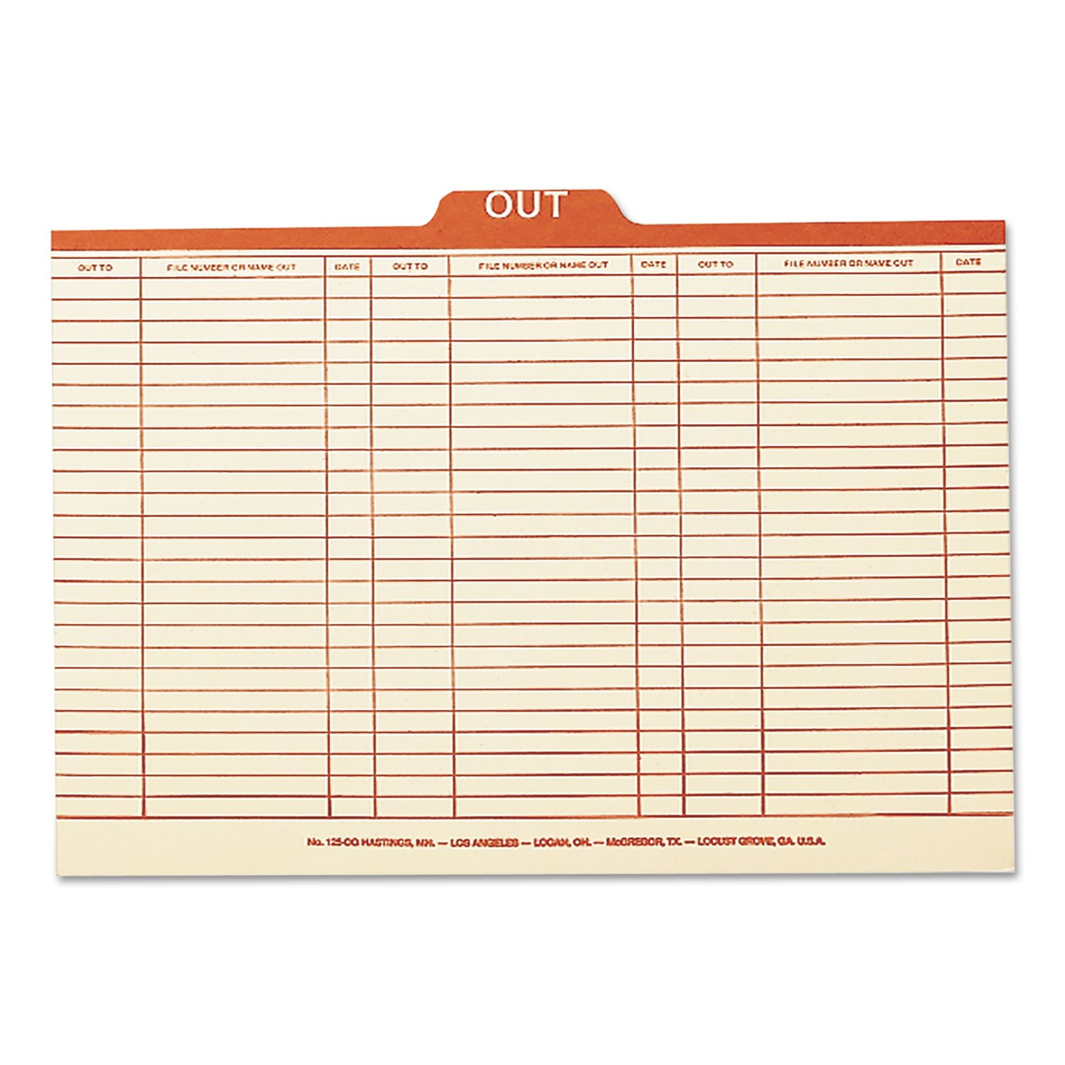 Smead 53910 Charge-Out Record Guides 1/5 Red''OUT'' Tab Manila Legal 100/Box by Smead