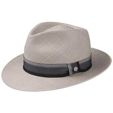 Lierys Sombrero Panamá Grey Paradise Bogart Hombre - Made in Ecuador de Verano Paja Panamá Sol con Banda Grosgrain, Grosgrain Primavera/Verano