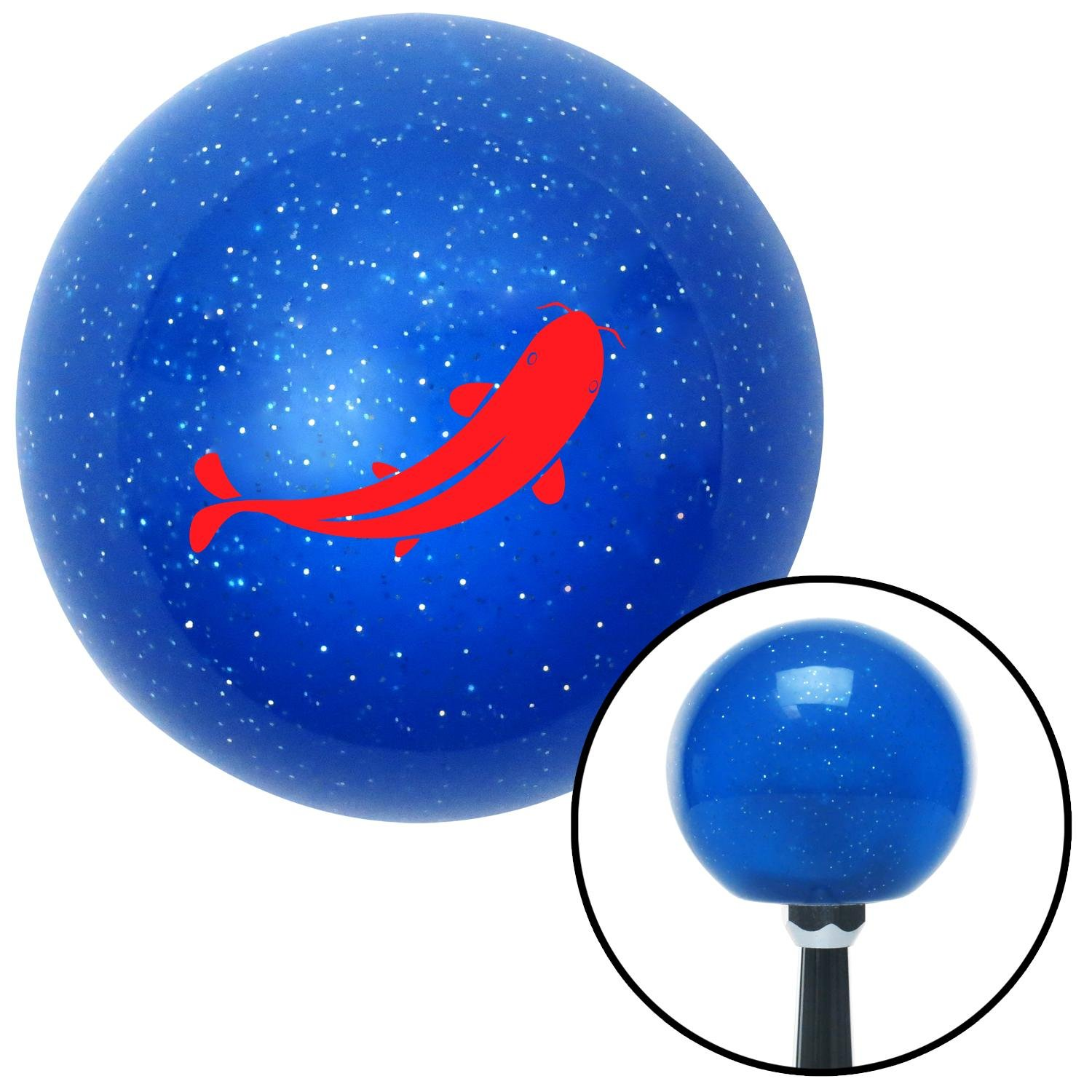 American Shifter 22209 Blue Metal Flake Shift Knob Red Killer Whale
