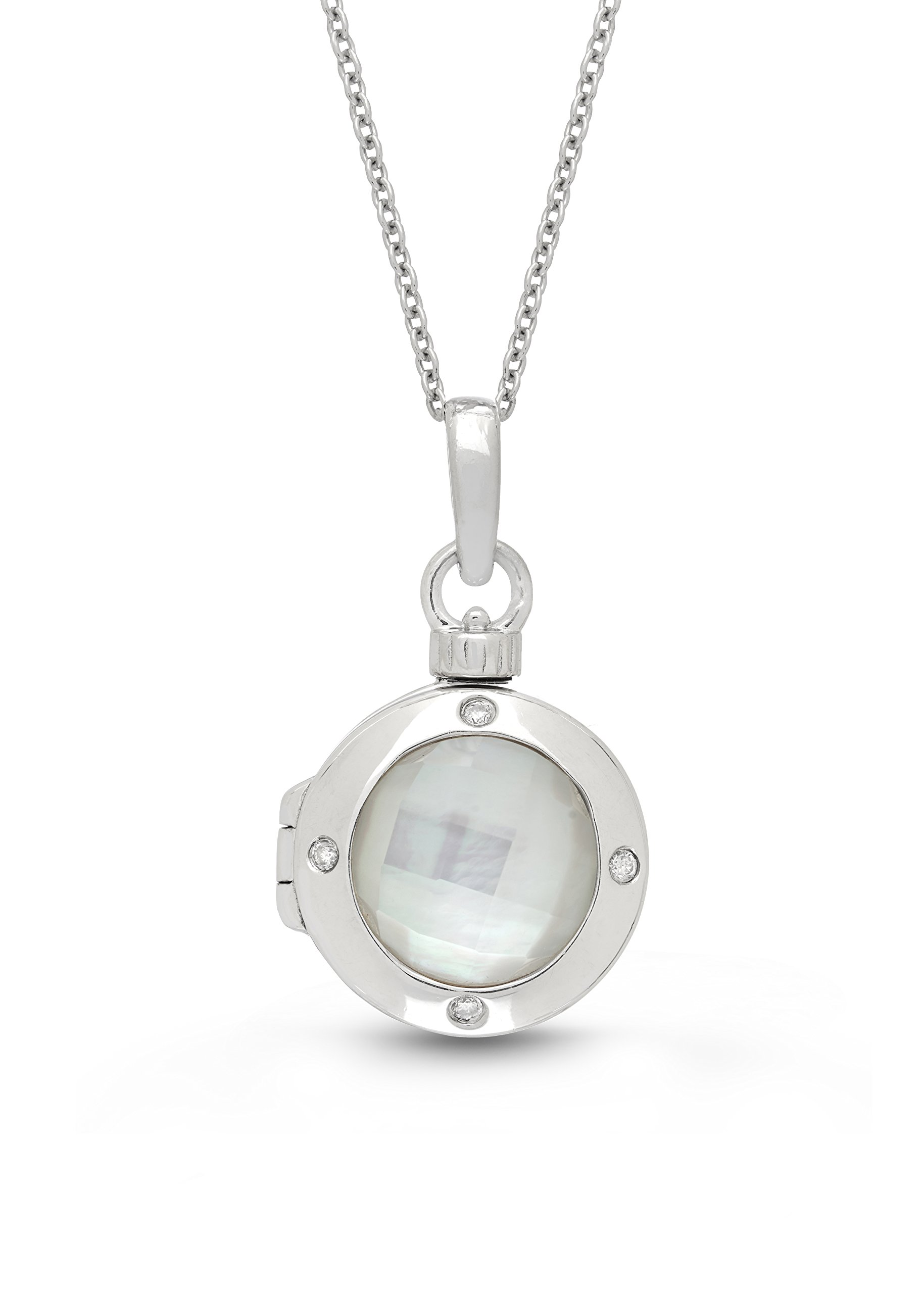 Sterling Silver-Diamond-MOP-Custom Photo Locket Necklace-34-inch chain-The Shelly by With You Lockets