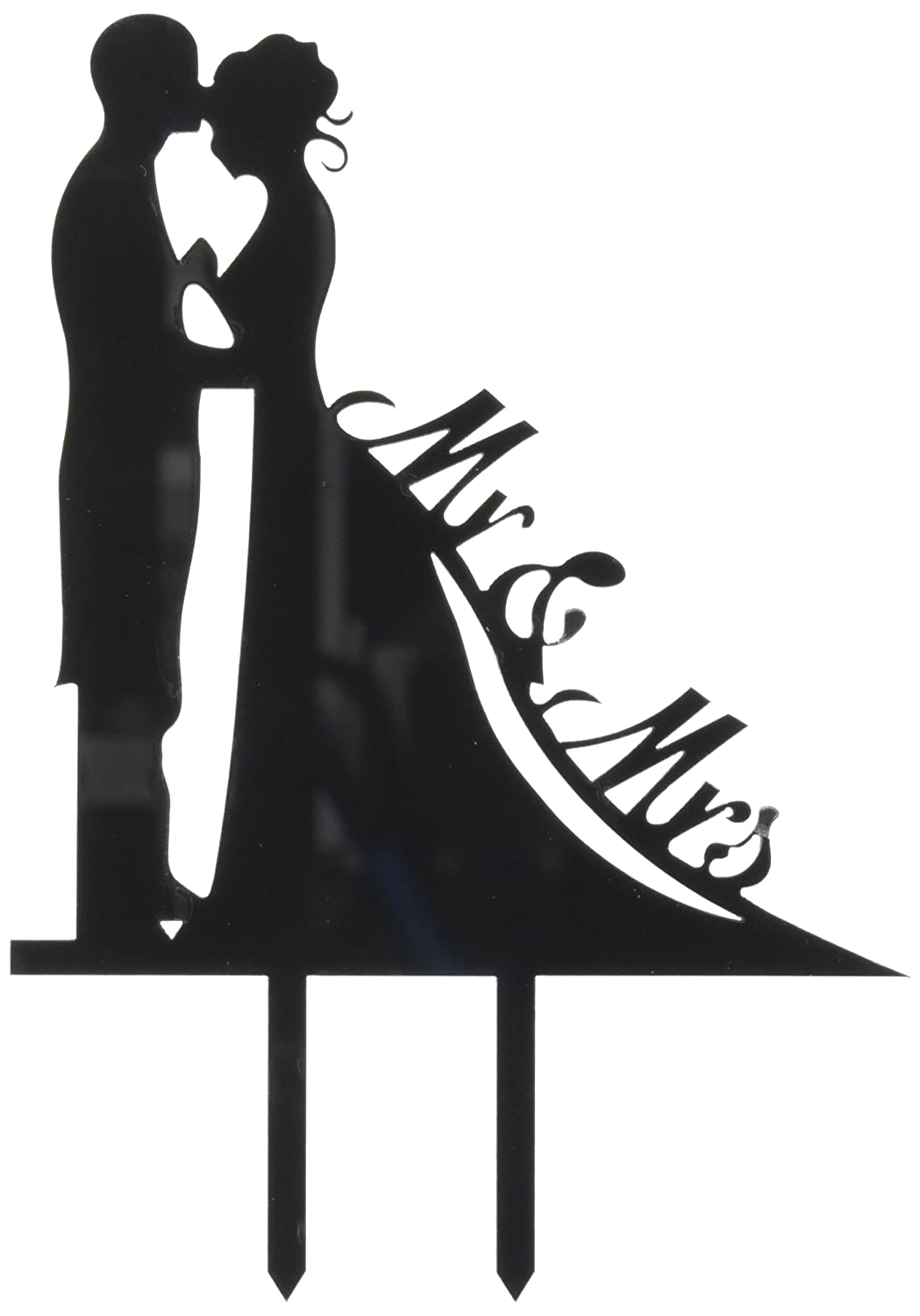 Unik Occasions Mr. & Mrs. Bride and Groom Silhouette Wedding Cake Topper Pick UO-CT-AC-0005