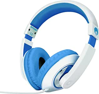 Rockpapa Comfort Stereo On Ear/Over Ear Headphones Earphones, Adjustable Headband for Kids Childs/Adults, iPad MacBook Surface MP3/4 CD/DVD Laptop Tablet Phone White Blue