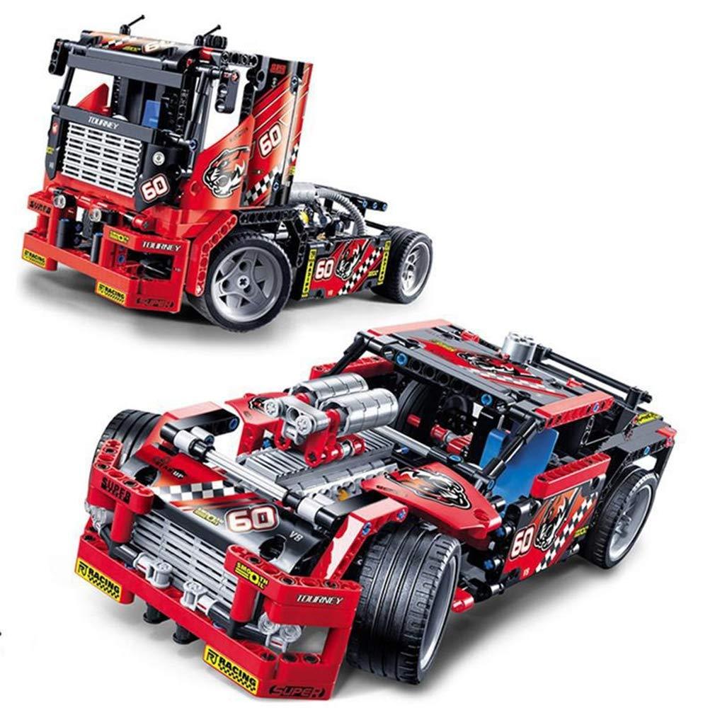 P1009 P1009 3d diyパズルビルディングブロックおもちゃ B07QM3Z45D、レースカー Red&トラック2 in 1変換可能モデル608ピースビルディングブロックキットdiy教育玩具、子供の誕生日や休日のプレゼント Red B07QM3Z45D, M.A.J.nahoku:e89b68f2 --- m2cweb.com