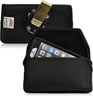 product image for Turtleback Belt Case Compatible with Apple iPhone 6s, iPhone 6 w/Otterbox Defender case Black Holster Leather Pouch with Heavy Duty Rotating Ratcheting Belt Clip Horizontal Made in USA