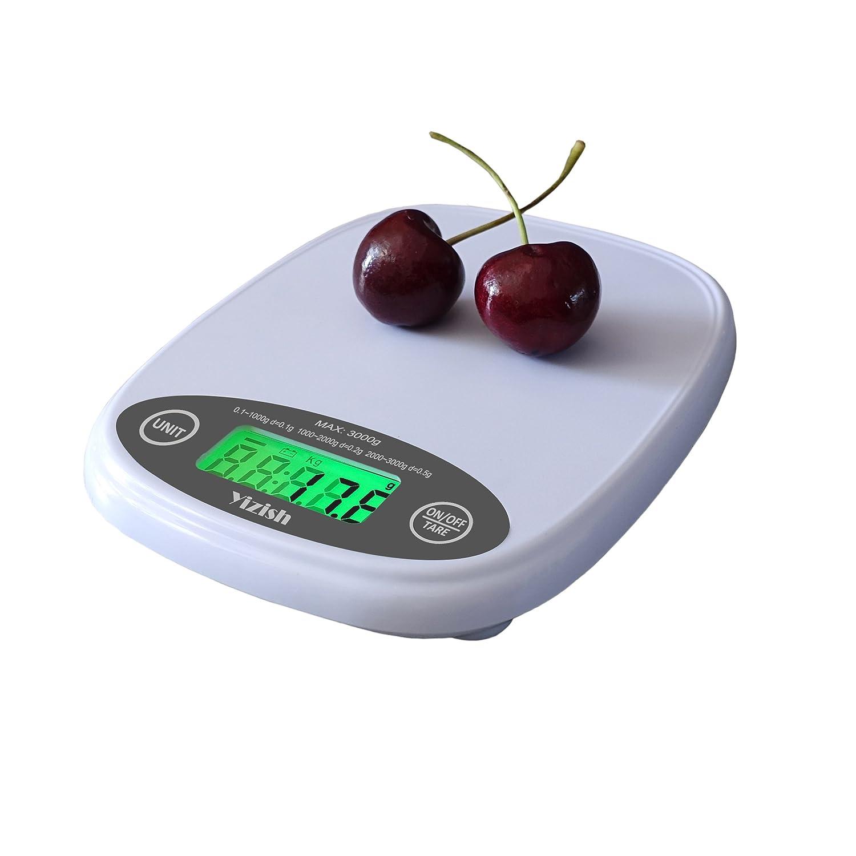Yizish Escala de bolsillo de cocina digital, Escala de carne multifuncional a prueba de agua, con retroiluminación Pantalla LCD para hornear Cocinar B12