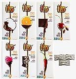 Assorted Theo Organic Chocolate 7 Flavors ( Dark Coconut 70%, Dark Orange 70%, Pure Dark 85%, Cherry Almond 70%, Raspberry Dark 70%, Black Rice Quinoa Crunch, Chili Dark 70%). Includes HolanDeli Mints