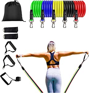 Resistance Bands Set, Workout Bands, Exercise Bands with Handles, Door Anchor and Legs Ankle Straps, for Strength, Slim, Yoga, Home Gym Equipment for Men/Women (11pcs)