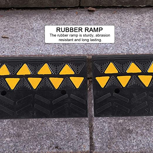 Garage Heavy Duty Rubber Curb Ramps Sidewalk Scooter Bike Motorcycle Set of 2 Threshold Curb Ramp 4.3inch H Curbside Bridge Ram for Loading Dock Wheelchair Mobility and Vehicle Truck
