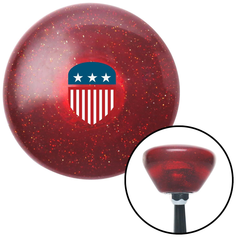 American Shifter 291378 Shift Knob USA Flag Shield Red Retro Metal Flake with M16 x 1.5 Insert