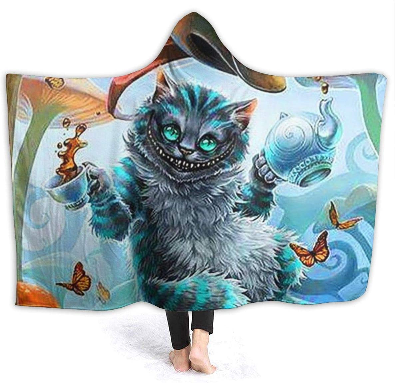 Alice in Wonderland Cat Hooded Blanket