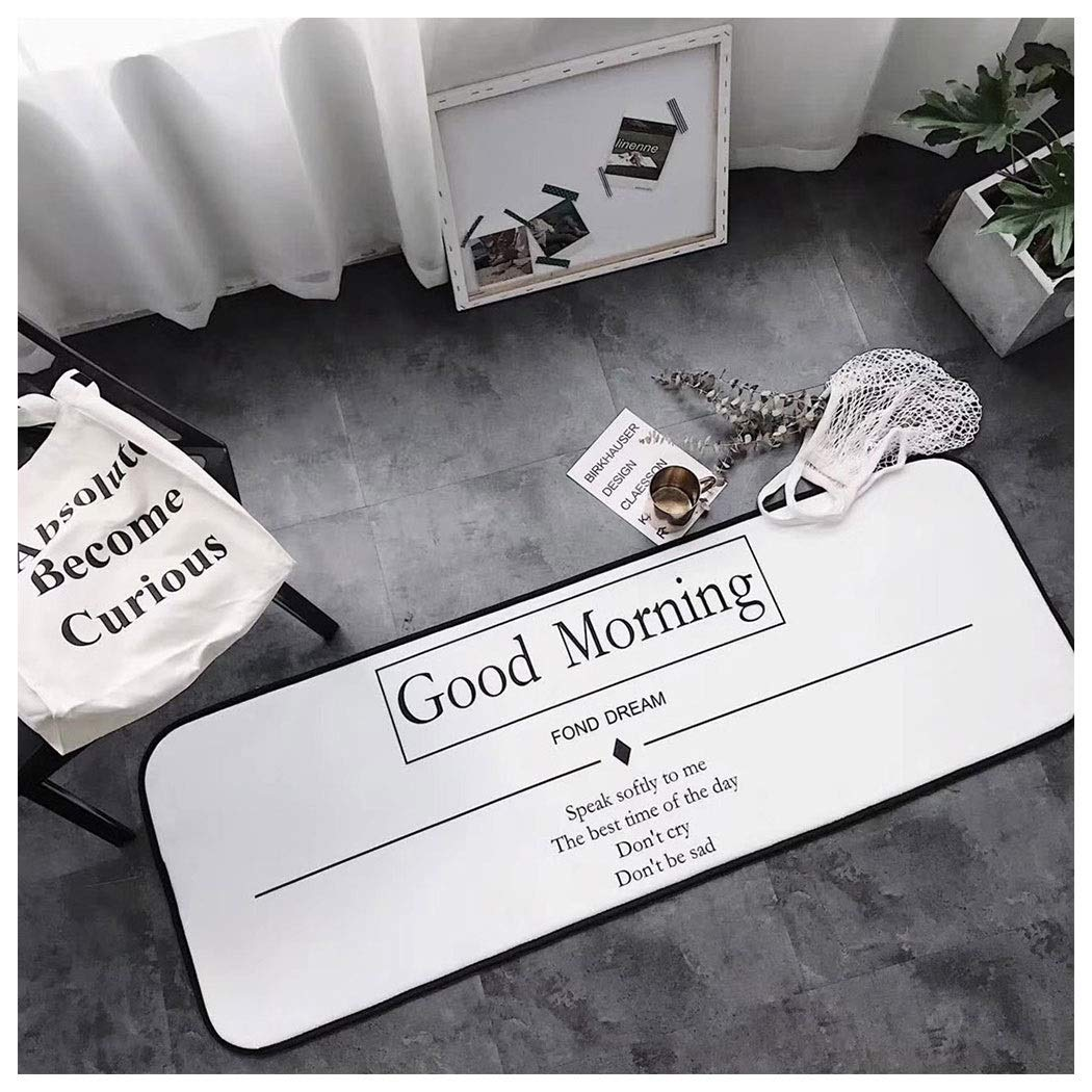 AXIANQIMat Bathroom Mat Square White Letter Printing Kitchen Obstacle Mat Long Bedroom Mat Bed Side 170cm (Color : White, Size : 50170cm)
