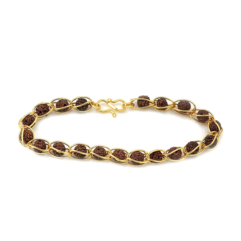 Buy Valantine Gift -Mahi Rudraksha Gold Plated Religious Bracelet ...