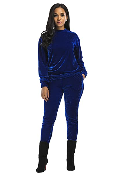 Aecibzo Women s 2 Pieces Long Sleeve Velvet Sweatshirt and Pants Tracksuit  Outfits (S 448647d32