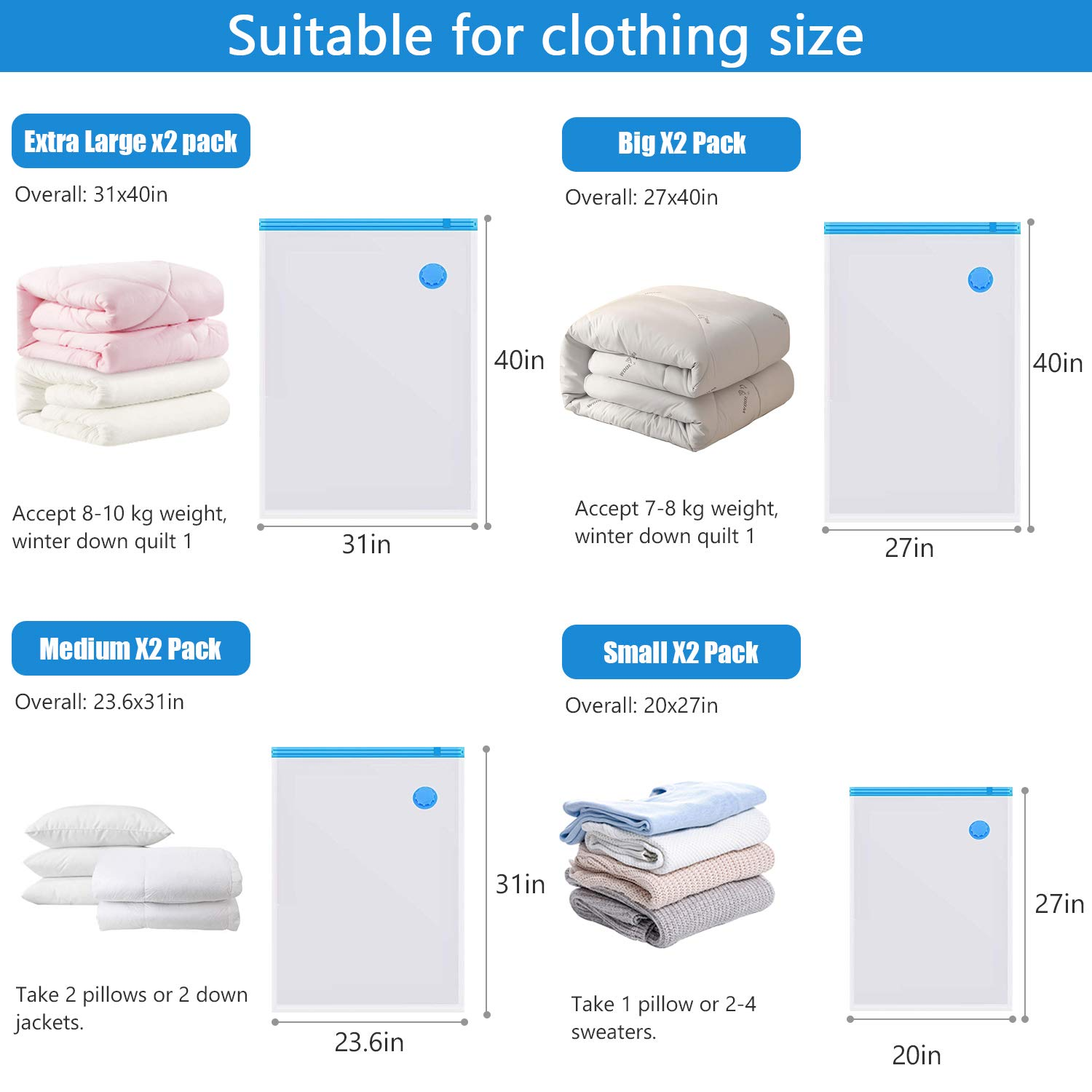 Space-Saver Bags with Hand Pump Traveling Bedding 8PCS Reusable Vacuum Storage Bags Mildew-proof and Antibacterial 2 Jumbo+2 Extra Large+2 Medium+2 Small for Clothing Compression Storage Bags