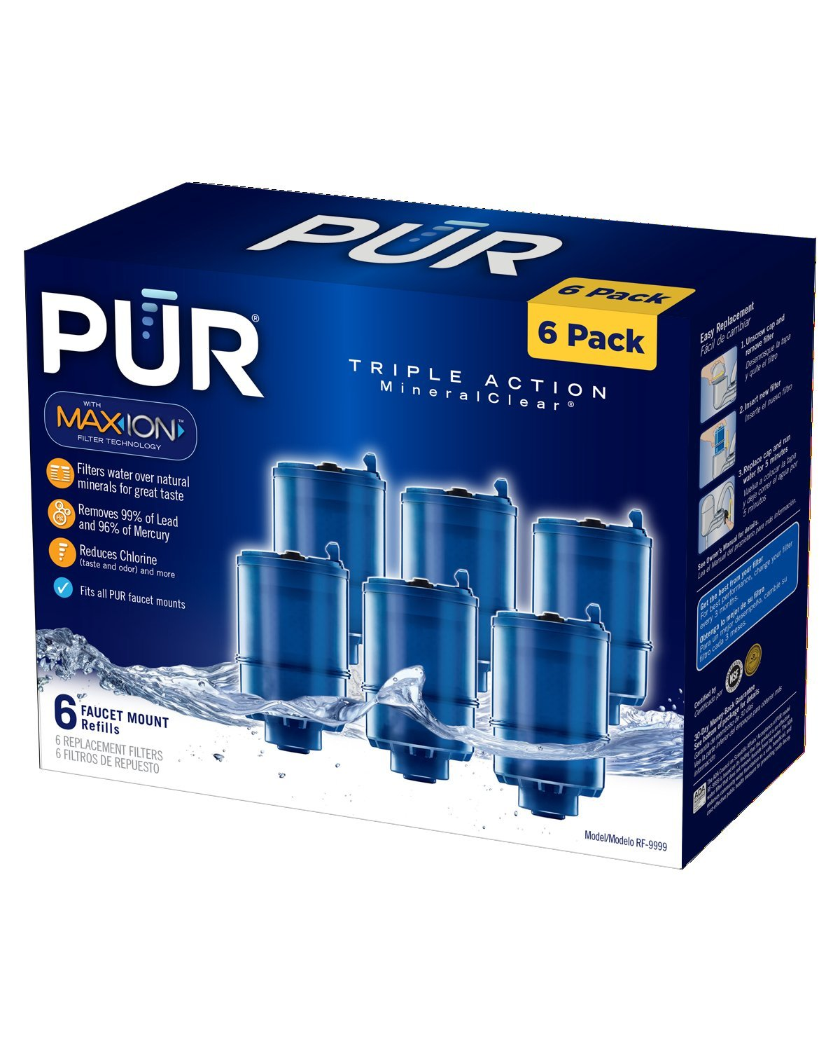 PUR MineralClear Faucet Refill RF-9999, 6 Pack - Faucet Mount Water ...