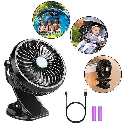 360 degree Camping Fan Rechargeable USB Clip On Mini Desk Fan Pram Cot Car BT