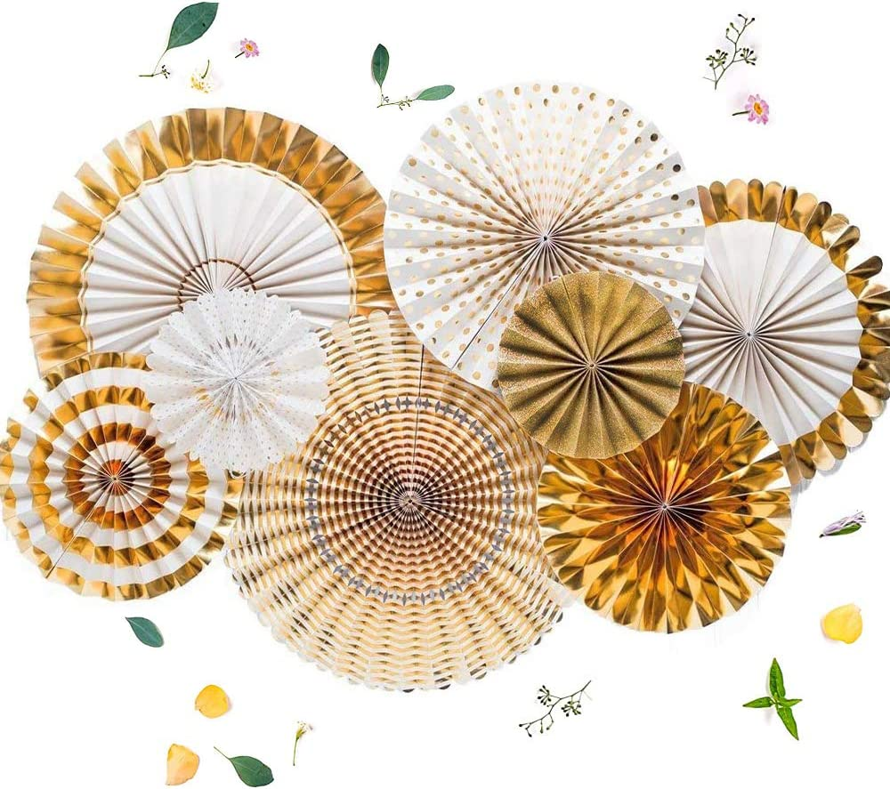 Party Hanging Paper Fans Flower, Party Decorations for Wedding Birthday Party Carnival Welcome,Golden Paper Fan