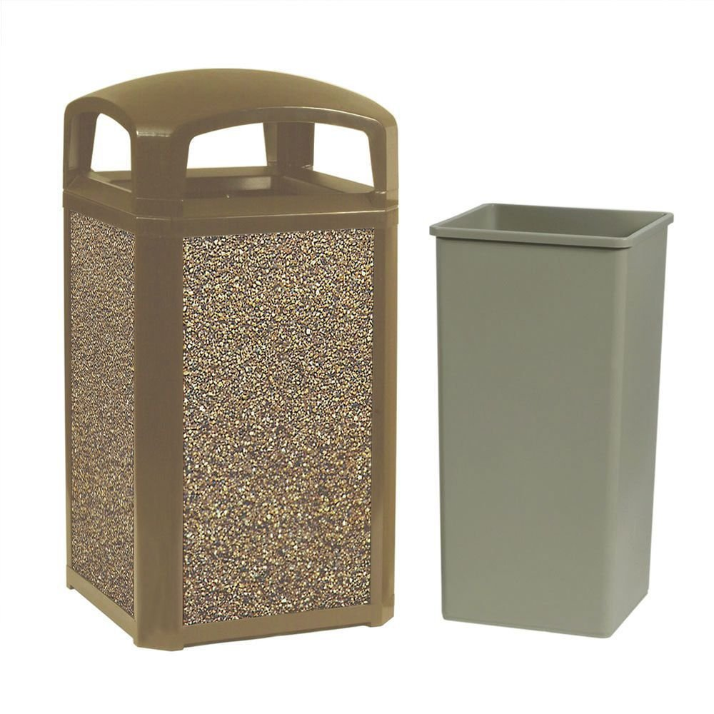 Rubbermaid Landmark Series 45 gal Driftwood Frame With River Rock Aggregate Panels Trash Receptacle With Dome Top - 26''L x 26''W x 46 1/2''H