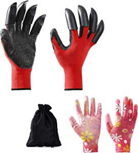 Garden Gloves with fingertips Claws Best Gift Gardener for Quick and Easy Digging and Planting Gardening Gloves Suitable for Digging and Seeding Breathability