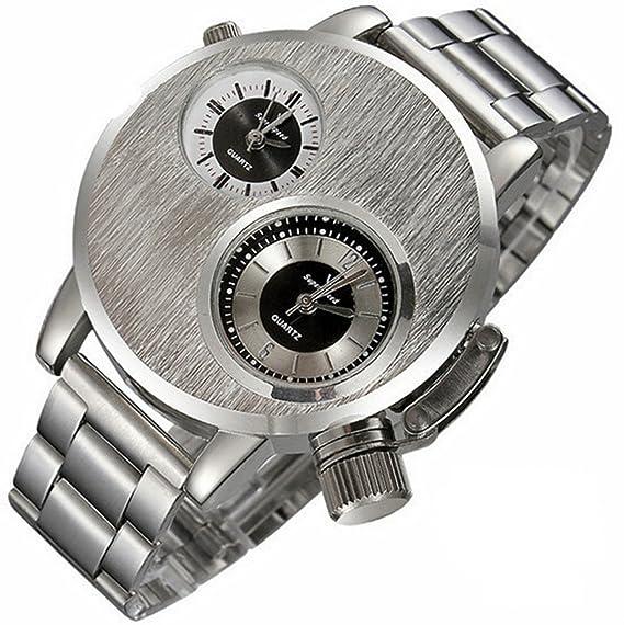 Relojes de pulsera Hombre Reloj de pulsera con dos esferas de estilo moderno en plata: Amazon.es: Relojes