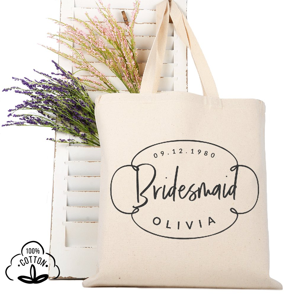 Personalized Tote Bag Natural Cotton Wedding Bridal Party | DSG#10 | set of 6
