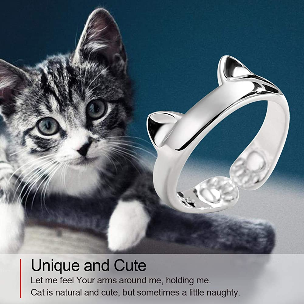 Sterling silver ring Cute cat ring Adjustable cat ears ring Gift for her