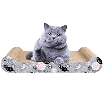 LIKEA Rascador para Gatos de Cartón Cama Rascador con Catnip Orgánico Diseño de Doble Cara con Materiales Ecológicos con Estampados Divertidos 45 x 25 x 7 ...