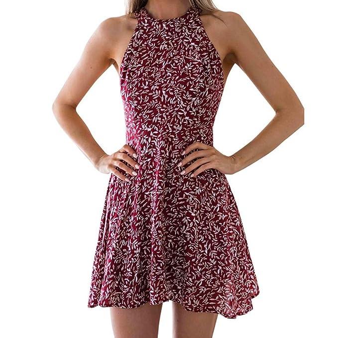 Vestito sexy halter vestiti donna Vestito da festa con stampa floreale abiti  da cerimonia vestiti da cerimonia vestiti da sera  Amazon.it  Abbigliamento 0d2abe9d72f