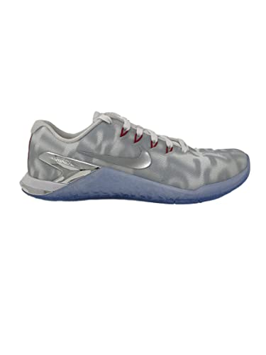 50b62bd5ac07 Nike Women s Metcon 4 Premium Training Shoe White Metallic Silver-Gym RED  5.0