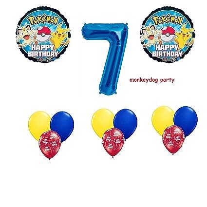 12 Pc BALLOON Set POKEMON Go 7th BIRTHDAY 7 Seven PARTY Balloons