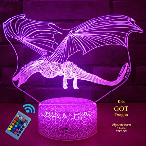 HYODREAM DragonToys Dragon Gifts Kids Night Light,16 Colors with Remote 3D Optical Illusion Kids Lamp as a Pefect Gifts for Boys and Girls GOT on Birthday or Holiday…