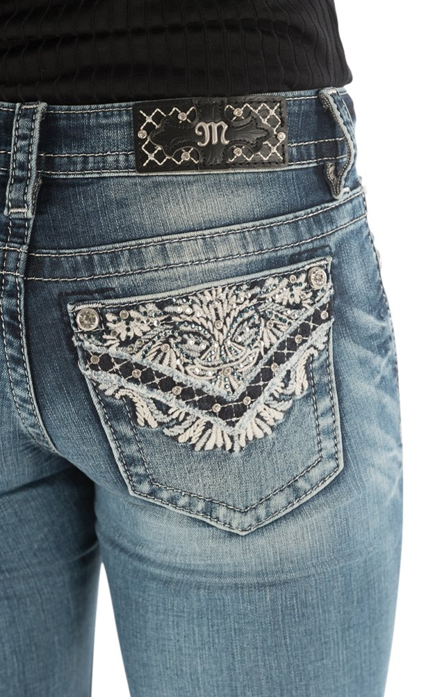 Miss Me Women's Intricate Embroidered Boot Cut Jeans Indigo 32