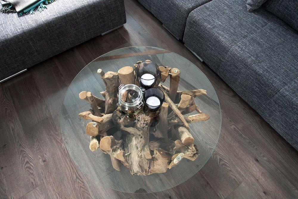 CRAVOG Couchtisch Teakholz Mit Glasplatte Rund Beistelltisch Tisch  Massivholz Design: Amazon.de: Küche U0026 Haushalt