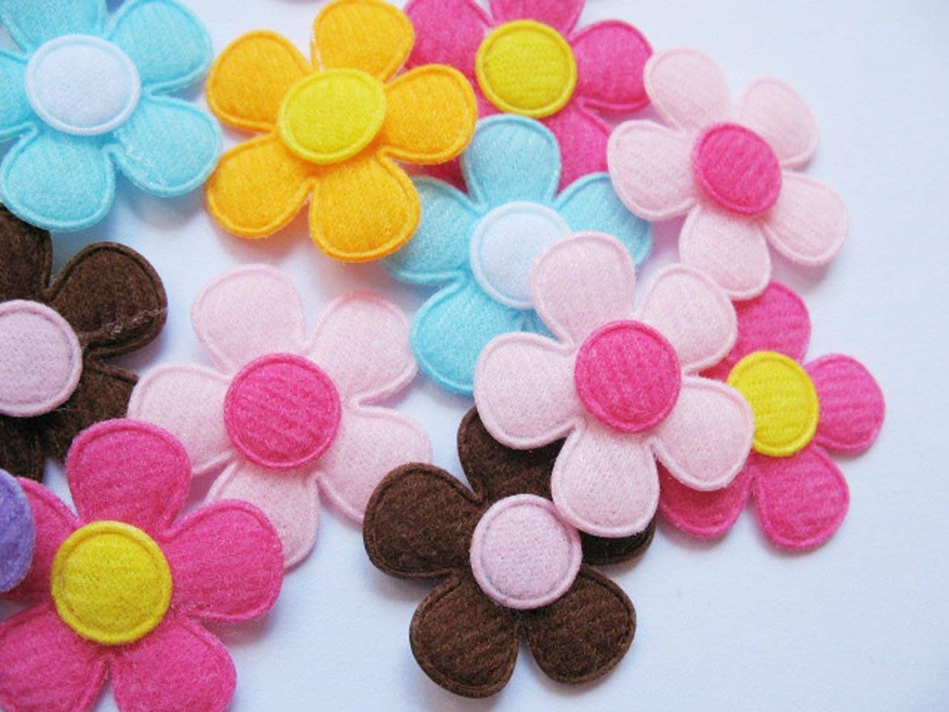 YYCRAFT Pack Of 90pcs Padded Spring Felt Flower Appliques 9 Colors 4336935229