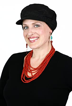Summer Cotton Newsboy Cap Hats for Cancer Patients Women (Black) at ... 6df0ea9f477