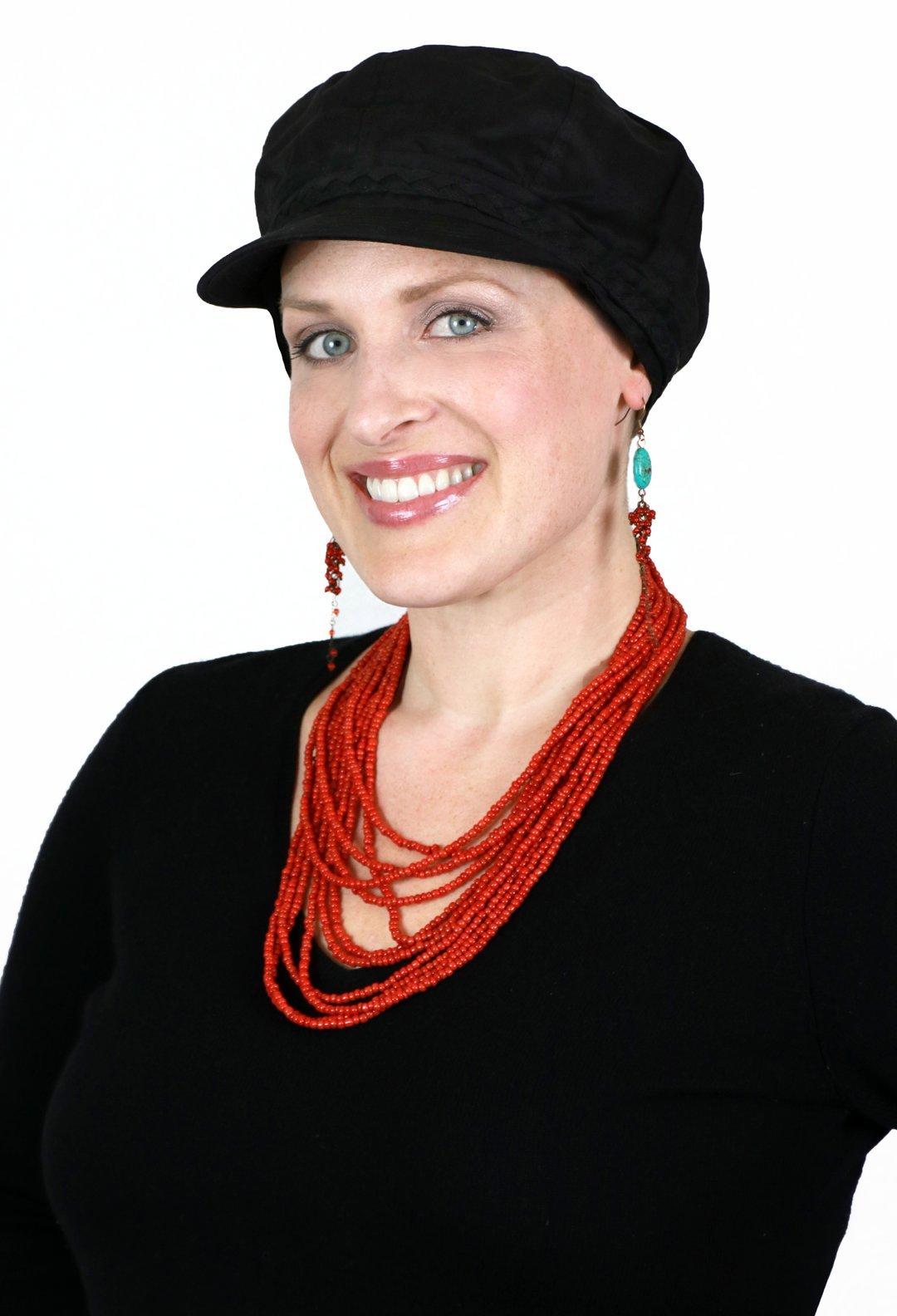 Summer Cotton Newsboy Cap Hats for Cancer Patients Women (Black)