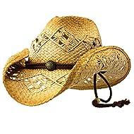 Sonoma - Deadwood Trading Raffia Straw Cowboy Hat | Men & Women Country | Beach
