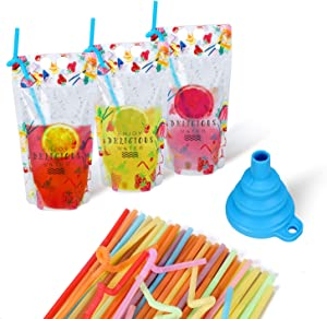 MA STRAP 50pcs Premium Plastic Drink Pouches with Straws, 17oz Drink Bags Container,Travel Take Out Food Bag Container With Funnel