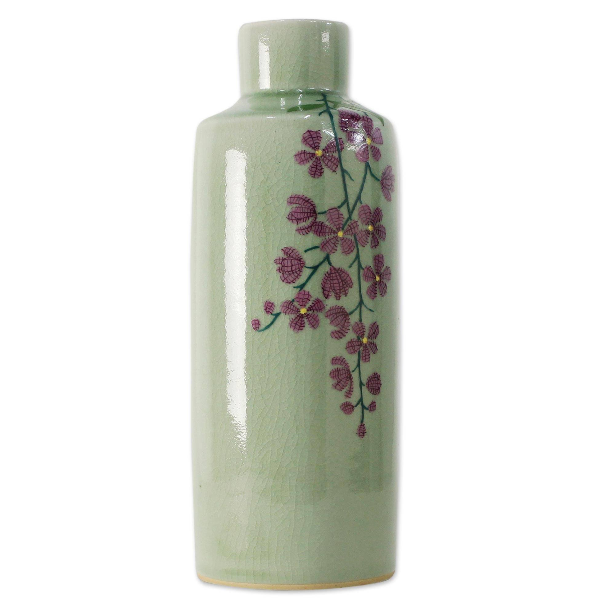NOVICA Decorative Celadon Ceramic Vase, Green and Pink, 'Around The Garden' by NOVICA