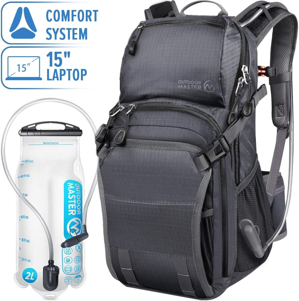 OutdoorMaster 25L HYDROBACK Hydration Backpack - 2L BPA Free Bladder | Large Volume, Ultra Ventilated Lightweight Day Pack for Hiking, Cycling, Climbing, Trekking, MTB