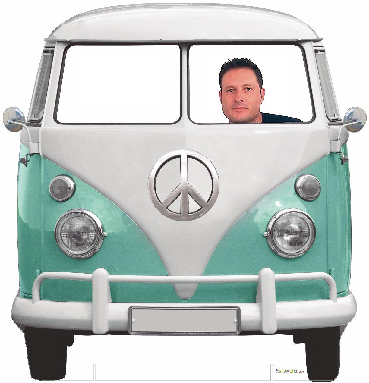Photocall Coche Volkswagen Hippie 1,50x1,50cm | Photocall Divertido para Bodas, Cumpleaños, Eventos... | Photocall Furgoneta Volkswagen Resistente, Original, de Gran Calidad | Photocall que Contiene Dos Peanas para un Apoyo Excelente Oedim