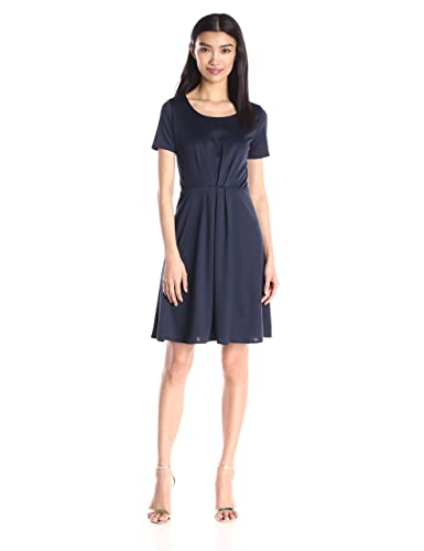 Star Vixen Women's Short Sleeve Starburst-Cinch Pleat Ponte Skater Dress