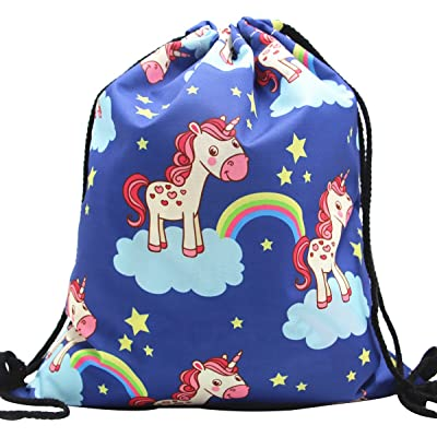 Ababalaya Colorful Unicorn Print Drawstring Backpack Rucksack Shoulder Bags Gym Bag 25 Types