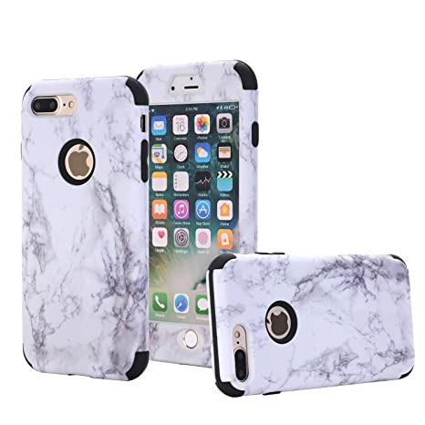 iPhone 7 Plus Case, SUPZY [Marble Series] Hybrid Heavy Duty Shockproof Full-Body Protective Case with Dual Layer [Hard PC+ Soft Silicone] Impact ...