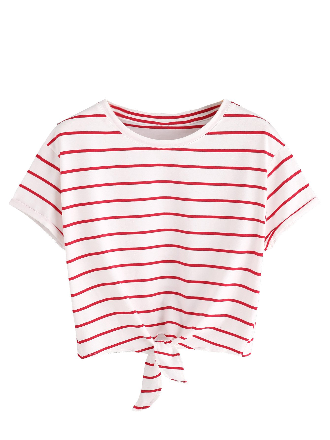 03b24a8a0b8 Galleon - ROMWE Women's Knot Front Long Sleeve Striped Crop Top Tee T-shirt,  White & Red, Large(US 8-10)