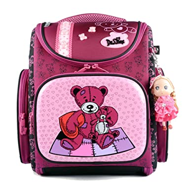 d6a4ae92a8ff Delune Girl s School bag Cartoon Large Capacity Orthopedic backpack (Bear Red)