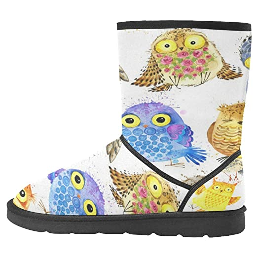 Women's Snow Boots Unique Designed Comfort Winter Boots Owl Birds Blue