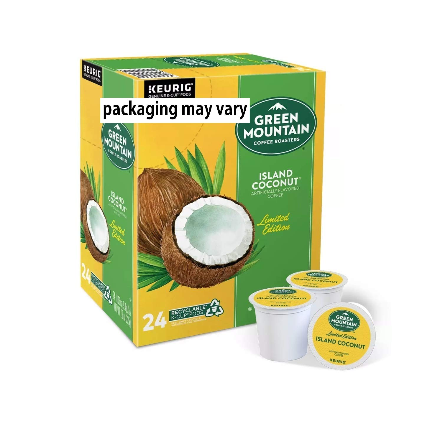 Green Mountain Coffee Pods K-Cups For Keurig Machines Flavored K Cup (All Count Fresh Capsules) Light / Medium / Dark Roast Long Expiry ALL FLAVORS (24 K-Cups Island Coconut Coffee)